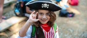 Girl dressed in pirate costume