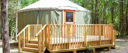 Each climate-controlled yurt has 6 bunk beds and can sleep up to 12 guests.